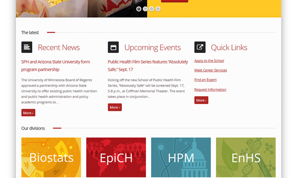 U of M School of Public Health<hr>responsive design<br>wordpress