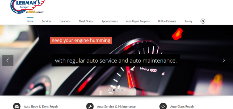 Lehman's Garage<hr>responsive design<br>wordpress