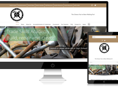Trade Skills Academy<hr>responsive design<br>wordpress