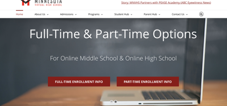 MN Virtual High School<hr>responsive design<br>wordpress