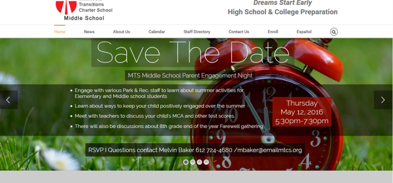 MTS Middle School<hr>responsive design<br>wordpress