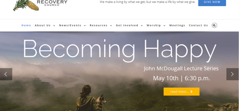 The Recovery Church<hr>responsive design<br>wordpress